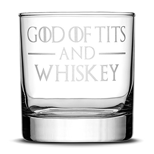 Integrity Bottles Premium Whiskey Glass, God of Tits and Whiskey, Hand Etched 11oz Rocks Glass, Made in USA, Highball Gifts, Sand Carved
