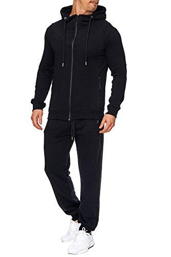 Tazzio Herren Sportanzug Jogginganzug Trainingsanzug Sporthose&Hoodie 17203 Schwarz S