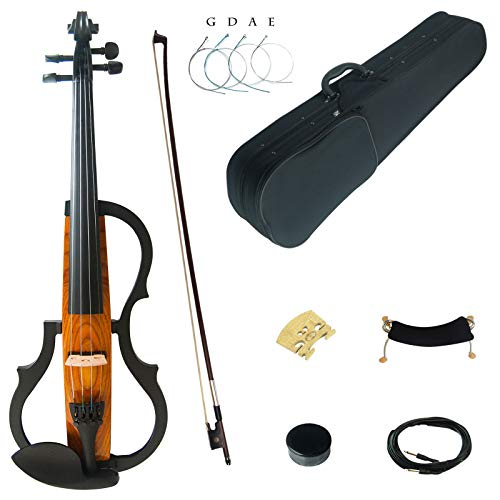 Kinglos 4/4 Colorato In Legno Massello 3-Band-EQ Elettrica/Silenzioso Violino Kit Raccordi Ebano - SDDS-N006