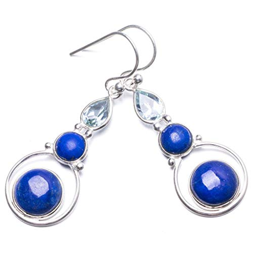 Natural Lapis Lazuli and Green Amethyst Handmade Unique 925 Sterling Silver Earrings 1 3/4' Y2321