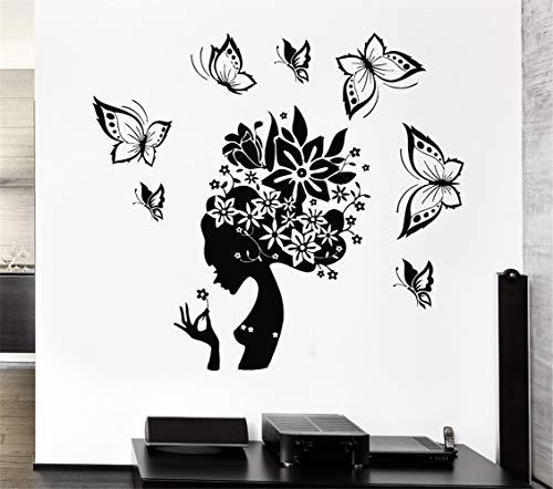 wandaufkleber blumenranke Neuester Entwurfs-hübscher Schmetterlings-Schönheits-Salon-Frauen-Zusammenfassungs-Haar-Aufkleber-Mädchenzimmer Hall Wall