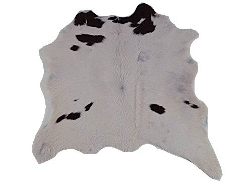 Kalbsleder Fellteppich Natür - Braun und Weiß - 85 cm x 80 cm Echtes Designer Lederteppich von Narbonne Leder Co