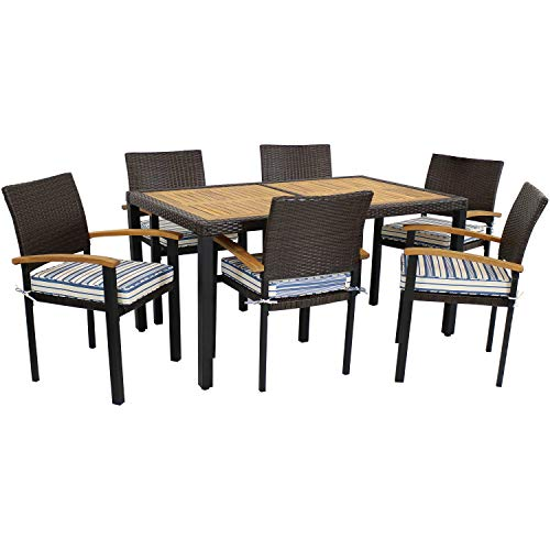 Sunnydaze Carlow Outdoor Dining Set - 7-Piece Rattan and Acacia Outside Patio Furniture - 1 Table and 6 Chairs with Thick Seat Cushions - Dark Brown/Blue Stripe