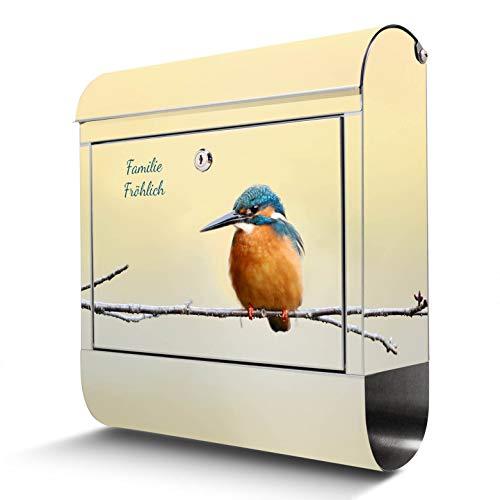 BANJADO Edelstahl Briefkasten mit Zeitungsfach, Design Motivbriefkasten, Briefkasten 38x43,5x12,5cm groß Motiv Pause mit eigenem Text