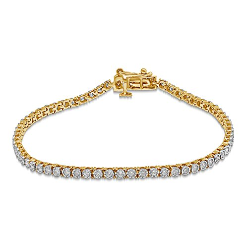 Diamond Jewel 10K Gold 1 CT TW Diamond Tennis Bracelet (Yellow-Gold)