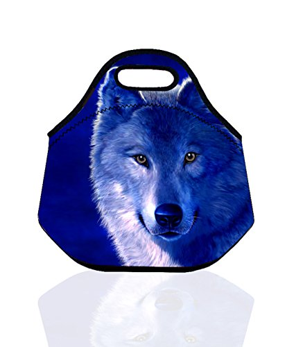 Kids Boys Girls Insulated Neoprene Lunch Bag /Lunch Box/Lunch Tote/Picnic Bags Tote Handbag Lunch Box Food Container Gourmet Tote Cooler Warm Pouch Lightweight With Rugged Zipper & Space (Blue Wolf)