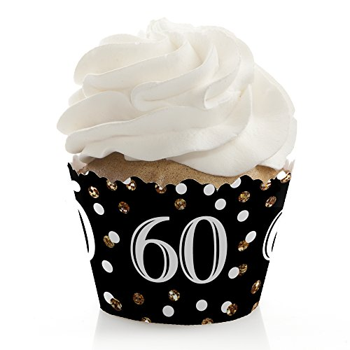 Adult 60th Birthday - Gold - Birthday Party Decorations - Party Cupcake Wrappers - Set of 12