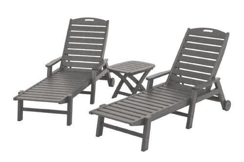 Hot Sale POLYWOOD PWS145-1-GY Nautical 3-Piece Chaise Set, Slate Grey
