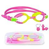 Oziral Gafas de natación para niños Profesional Vidrio de Natación Gafas de Buceo con Caja de Almacenamiento Clip Nasal y Tapones para los oídos Antiniebla y Protección UV (Rosado)