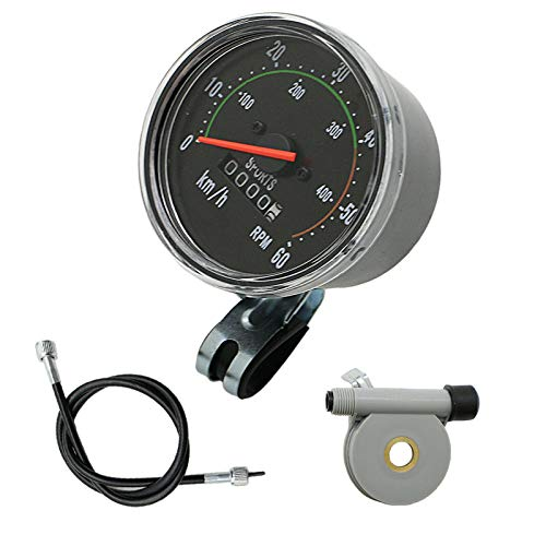 Kqiang Retro General Waterproof Bicycle Mechanical Speedometer Odometer Classic Style for Exercycle & Bike Handle 26' 28' 29' 27.5'
