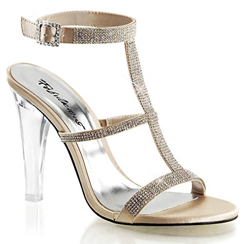 pleaser CLEARLY-418 Womens Shoes, Champagne Satin, Size 11