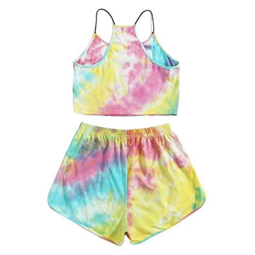 YOYOHO Women Tie-Dye Letter 2 Piece Set Gradient Rainbow Cami Crop Top Shorts Tracksuit - 1# L