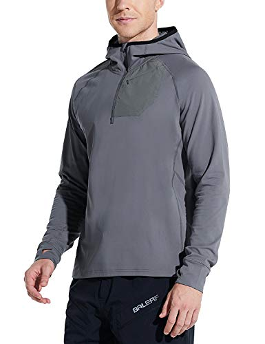 BALEAF Men's Running Pullover Shirts Warm Thermal Half Zip Hoddies Pullovers with Zipper Pocket Hiking Cycling Dark Grey XL