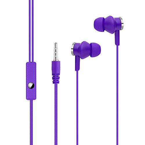Price comparison product image Orcbee _Universal in-Ear Magnet Stereo Earbud Earphone Headset with Mic for Cell Phone (Purple)