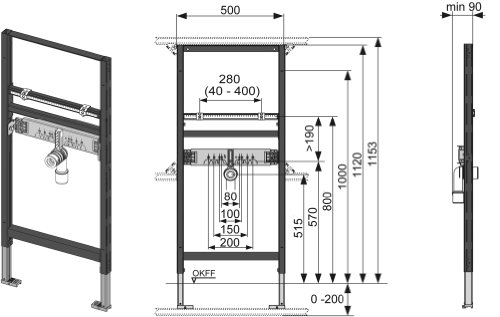TECE profil Waschtischmodul (Bauhöhe 112 cm;  Montagerahmen, pulverbeschichtet) 9310000