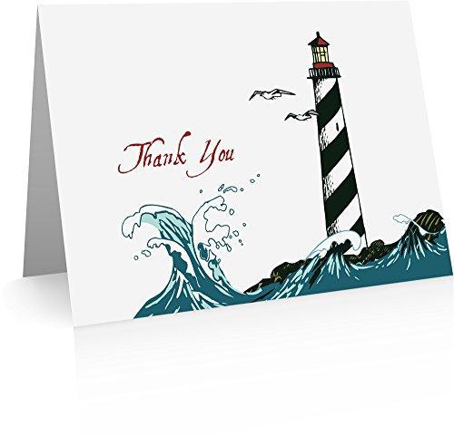Dankkarten für Hochzeiten (12 Faltkarten und Umschläge) Hochzeits-Dankkarten, mit Leuchtturm-Motiv