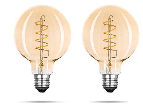 Set van 2 FILAMENT LED-lampen G95 Globe met 3 watt / 150 lumen / 2000 Kelvin, E27-fitting, niet dimbaar