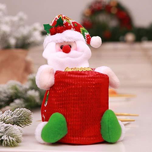 VHJ Decorazione Natalizia Scatola in Tessuto Cilindro per Hotel Coperchio in Carta Coperchio Antipolvere per la FamigliaBorsa conPupazzo di Neve di Babbo Natale, Lao Ren
