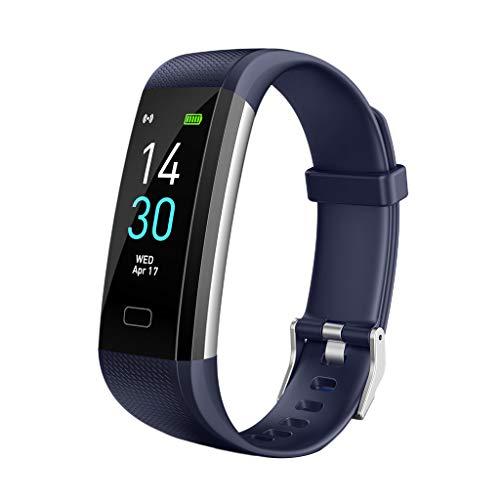 Almencla IP68 Wasserdicht Smartwatch Pulsuhren Fitnessband Schrittzähler mit Pulsmesser Blutdruck für Damen Herren - Blau, 40 * 20 * 10mm