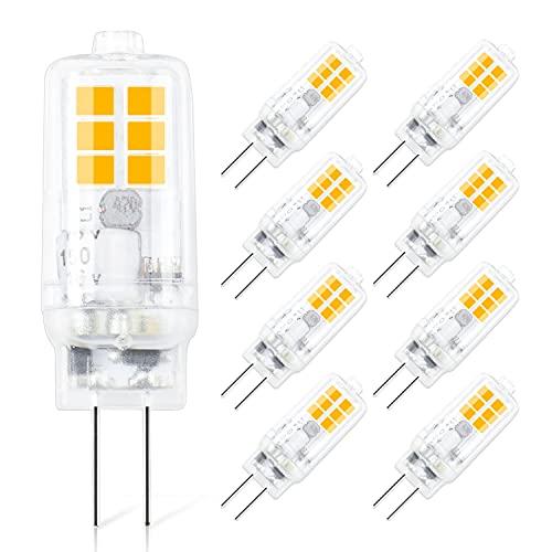 G4 LED Lampadinea, Lampada Led 12V AC/DC 220LM Bianco Caldo 3000K, 2W Equivalente a 20W Lampada Alogena, Lampadine Non Dimmerabile per Cappe Lampadari 8 Pezzi [Classe di efficienza energetica A+]