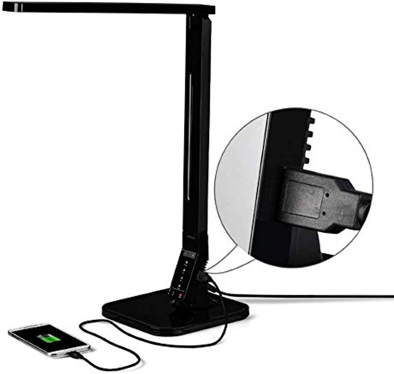WXCCK LED-Schreibtischlampe, Pflegeleichte Tischleuchten, dimmbare Bürolampe mit USB-Ladeanschluss, 4 Beleuchtungsmodi mit 5 Helligkeitsstufen, Touch Control,schwarz