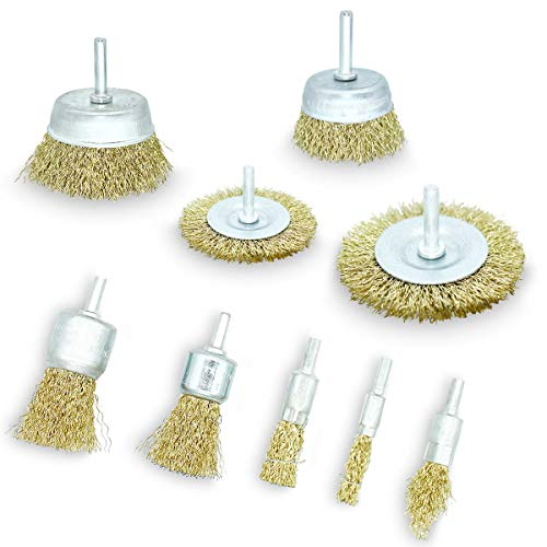 LESNIC Wire Brushes, Brass Coated Wheel & Cup Brushes 1/4 in Shank, Sanding Brushes for Various Drills Perfect for Removal of Rust, Corrosion, Paint for Power, Garden & Hand Tools (9 Pack)