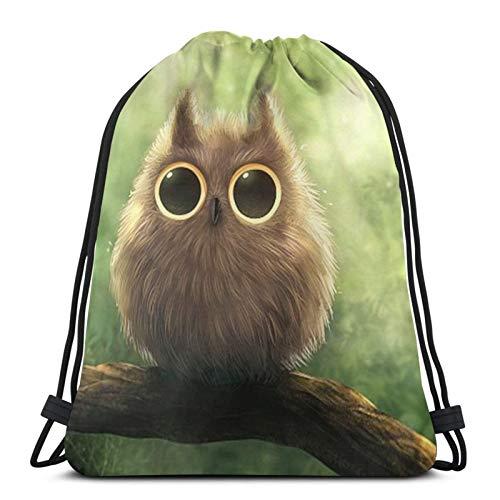 Big Eyed Owl Drawstring Bag Children Drawstring Backpack Men Women Travel Bag for Picnic Gym Sport Beach Travel