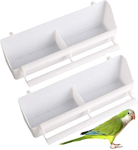 2Pcs Bird Food Water Bowl Cups Plastic Feeder Waterer Food box Bird Food Bowl Cups Bird Bowl Bird Waterer Food Feeder Birds Dispenser Hanging Food Feeder Cage Cage Accessories For Birds Parrots White