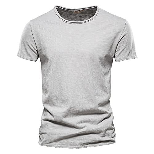 Camiseta Hombre Verano Regular Fit Moderno Hombre Correr Shirt Cuello Redondo Color Sólido Manga Corta Deportiva Camisa Básica Funcional Shirt Transpirable Causal Músculo Shirt C-Grey XXL