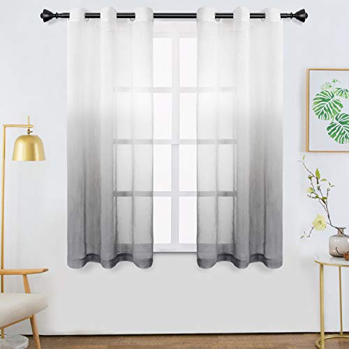Bermino Faux Linen Ombre Sheer Curtains Voile Grommet Semi Sheer Curtains for Bedroom Living Room Set of 2 Curtain Panels 42 x 63 inch Grey Gradient