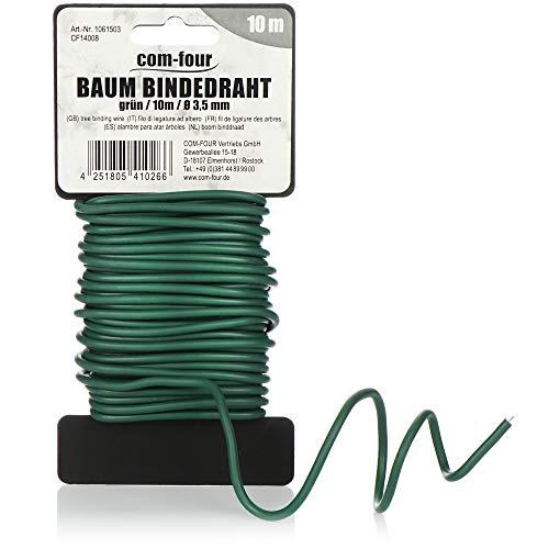 com-four® Baum Bindedraht ummantelt 10 Meter - Baumanbinder mit Gummiüberzug - Baumstützen für den Garten - Ø 3,5 mm (10m x 3.5mm)