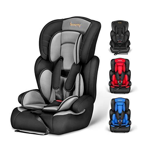 besrey Siège Auto et Rehausseur pour Enfant Groupe 1 2 3 (de 9 à 36kg), Siège Enfant Voiture avec Protection Latérale et Appuie-tête Réglable. Fixez avec les ceintures de sécurités d auto.