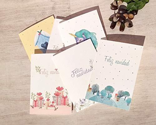 Felicitaciones de navidad // Set de 6 tarjetas navideñas con sobre // Gastos de envío gratis