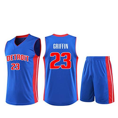 # 23 Griffin Basketball Anzug Anzug männer und Frauen Erwachsene Kinder Wettbewerb Anzug Weste lauftraining Kleidung unterhemd lose sportbekleidung t-Shirt + Shorts (l-5xl / 4XS-m)-Blue-S
