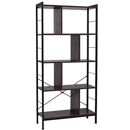 Estantería de 4 niveles, estantería industrial para almacenamiento de pie en el suelo en el escritorio de salón, marco de acero estable