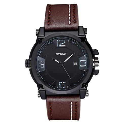 GLEMFOX Vintage herenhorloge riem kwartshorloge met datum student sport waterdicht digitaal horloge mannen Riemen. Large #1