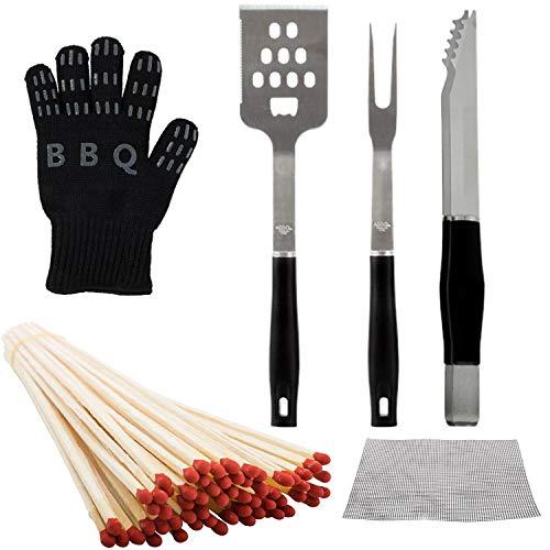 Lote de 65 herramientas para barbacoa con parrilla de pancha, pinza, espiga,...