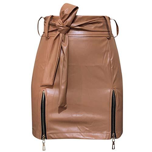 Women Tight Short Skirt High Waist Solid Color Lace Up Bodycon Zipper Side Split Hip Slim Skirt Mini Pencil Skirt