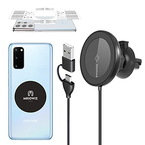Magnetic Wireless Car Charger for MagSafe with Magnet Sticker, Mriowiz Car Mount Charger Mag Safe Auto-Alignment Air Vent Holder for iPhone 12/11/X/XS/XR/8 Series, Galaxy Note 20/10/9/8/S20/S10/S9/S8