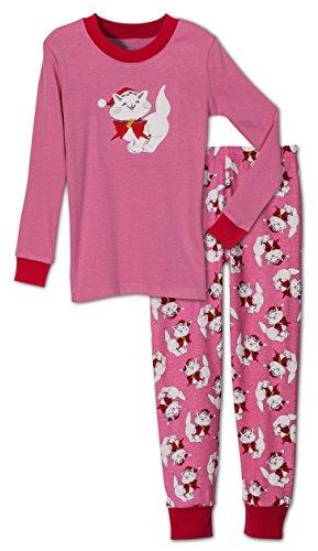 Sara's Prints Girls' Holiday Christmas Cat 2 Piece Pajama Set, Toddlers Size 2T Pink