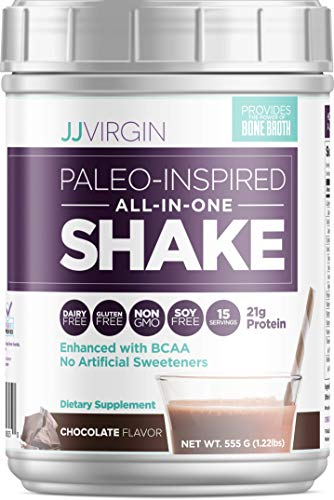 JJ Virgin Chocolate Paleo-Inspired All-in-One Shake - Healthy Paleo & Keto Friendly Breakfast Shake - Protein Powder Supports Lasting Energy with 21 Grams of Protein (15 Servings, 1.22 Pounds)