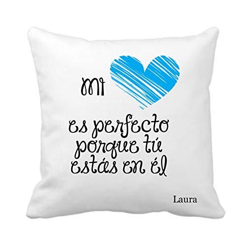 Kembilove Cojín Personalizado para Parejas – Cojín Mi corazón Cojín Azul con Nombre Personalizado para Parejas y Enamorados – Cojines para San Valentín