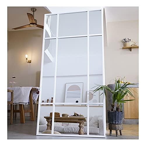 Espejo de Cuerpo Entero Rectangular Blanco [180 x 90 x 3cm] | Diseño danés | Espejo Grande y Largo de pie | Vertical y Horizontal