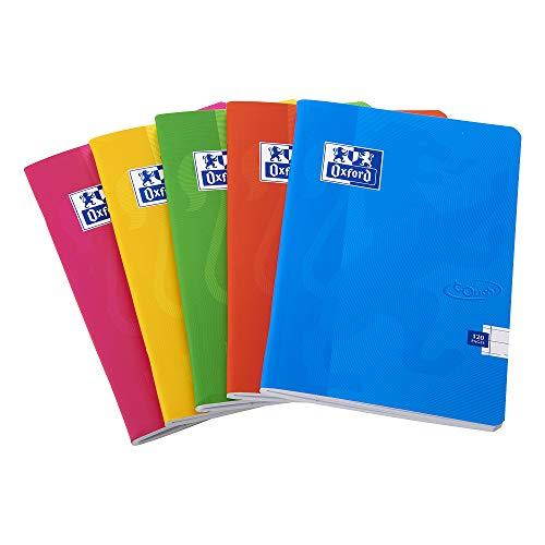 Cuaderno grapado de tapa blanda, de la marca Oxford Touch, tamaño A4, 120páginas, colores surtidos, paquete de 5