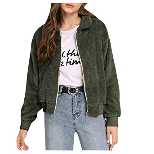Shinehua Damesmantel Revers Faux voor lange mouwen outwear teddy fleece wintermantel warme parka jas jas jas ritssluiting winterjas mode korte Coat