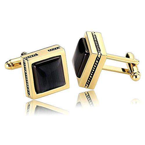 AnazoZ Joyería de Moda 1 Par Gemelos de Hombre Acero Inoxidable Simple Forma Piedra Cuadrada Color Oro Negro Gemelos Para Hombre
