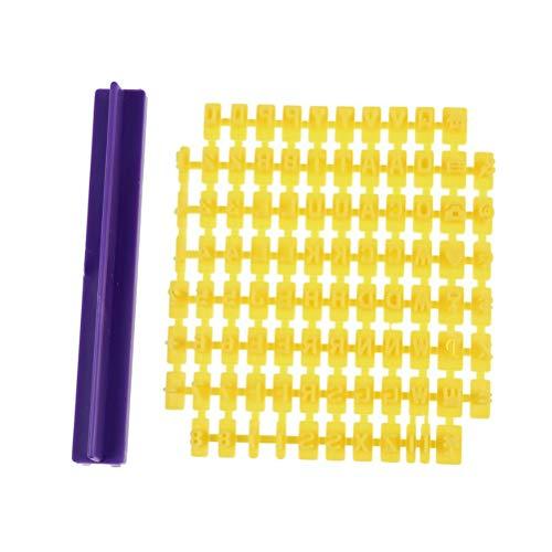 bestonzon 94Pcs sellos para galletas Inglés números alfabeto Cookie Fondant Cutter herramientas de cocción bricolaje (93moldes y 1manilla)
