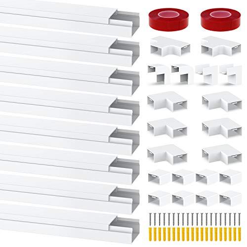 Chesbung Kabelkanal Selbstklebend 1m, 8er Pack Kabelkanal, Mini Kabel Verstecken, Kabelschacht zum Verstecken von Kabel, Kabelkanal Selbstklebend Weiss für alle Netzkabel in Haushalt/Büro
