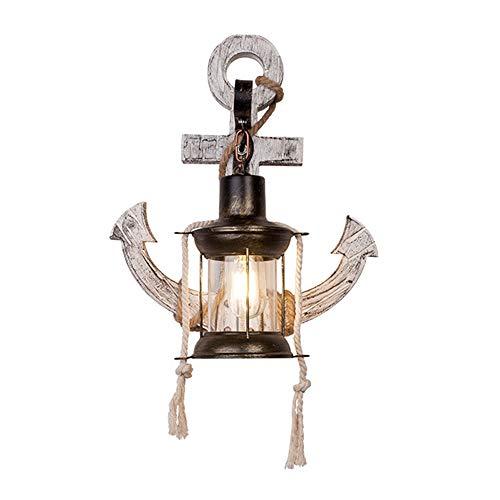 J.W. Kreative Retro Wandlampe, Massivholz Wandleuchten Petroleumlicht Anker Lampenschirm Einzelkopf Holz Lampen E27 Eisen Basis für Cafe Bar Restaurant