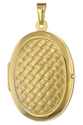 trendor Medaillon mit Flechtmuster Gold 333 / 8K zauberhaftes Gold-Medaillon für Damen, eleganter Goldschmuck für Frauen, liebevolle Geschenkidee, 75432